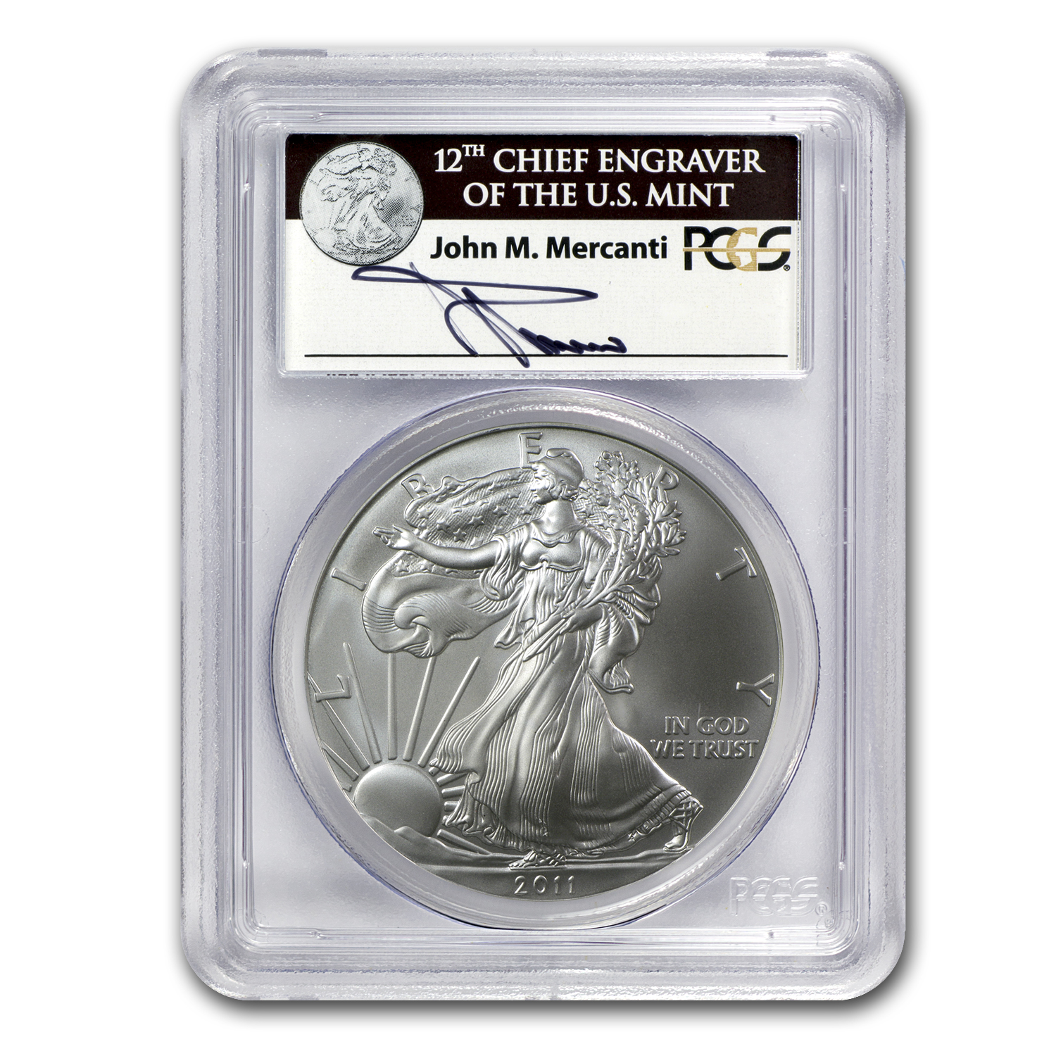 2011 Silver Eagle 25th Anniv MS-69 PCGS (FS) John Mercanti